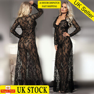 Plus Size Women's Lace Nightwear See-Through Badydoll Lingerie Sleepwear Robe UK