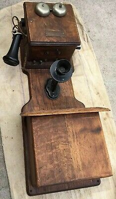 Vintage Antique Kellogg Switchboard Hand Crank Wall Telephone Phone Wood Chicago