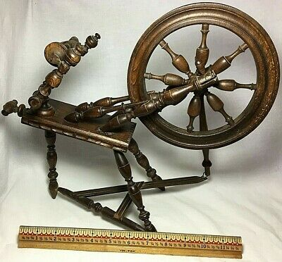 """Antique Child's Small 12.75"""" Saxony Style Spinning Wheel - Salesman Sample Size"""