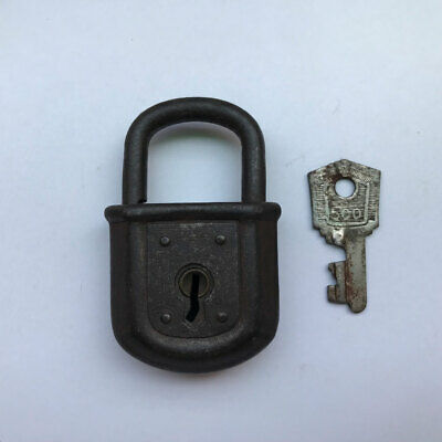 Iron German padlock lock old antique with key collectible