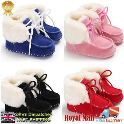 UK Infant Baby Boy Girl Toddler Fur Boots Soft Sole Crib Shoes Booties Prewalker