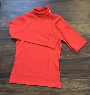 """True Vintage Dead Stock Childs Red Roll Neck Jumper Chest 30"""" 10-11 Years"""
