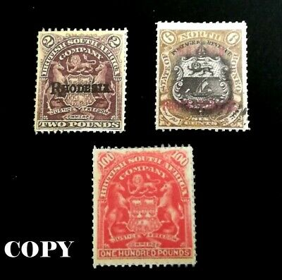 Rhodesia 1901 3 Values  2, 6 & 100 Hundred Pounds Fakes