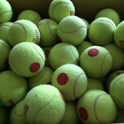 100 used red dot low compression tennis balls, used 3 months for lessons