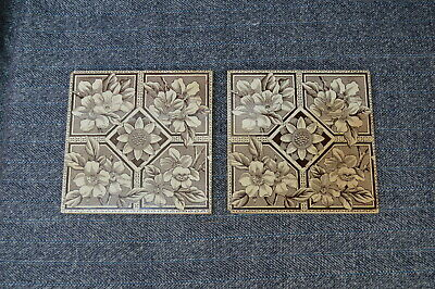 Two Victorian Tiles - Dog Wood And Sunflower Pattern - Circa 1890