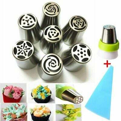 9pcs Stainless Steel Flower Icing Piping Nozzles Cake Decoration Tip Baking Tool