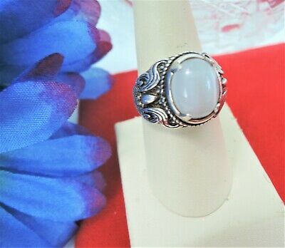 Size 9 Vintage Sterling Silver*Luminous White Cats Eye Stone Ring*Ornate Sides!!