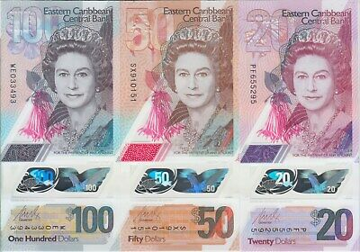 Eastern Caribbean NEW 2019 Polymer banknote SET 20, 50 & 100, UNC
