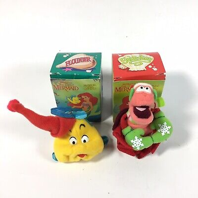 Vintage Plush McDonalds Little Mermaid Ornament Lot Of 2 Sebastian and Flounder