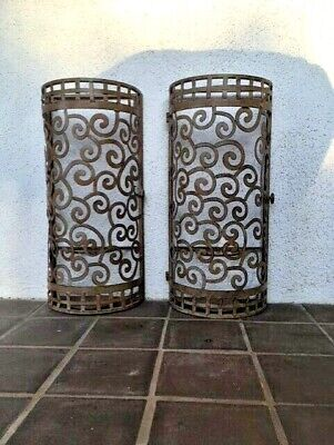 Beautiful Antique Handmade Wrought Iron Wall Sconces