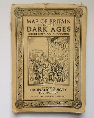 RARE ORDNANCE SURVEY MAP OF BRITAIN IN THE DARK AGES SOUTH SHEET 1939 cloth map