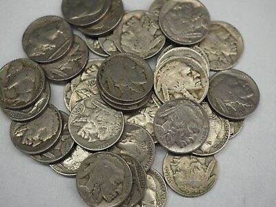 40 Coin Lot-Indian Head/Buffalo Nickels- All Full Dates-Free Shipping!