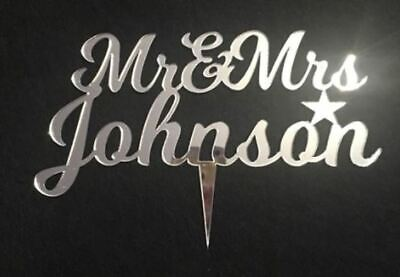 Personalised Mr & Mrs Wedding Cake Topper Table Decorations Mirror Acrylic