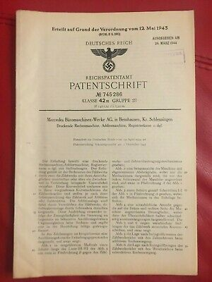GERMAN WW2 RARE NAZI ORIGINAL PATENT DOCUMENT MERCEDES Work Print Cash register