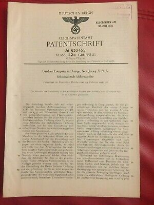 GERMAN WW2 RARE NAZI ORIGINAL PATENT DOCUMENT NEW JERSEY Self printing A machine