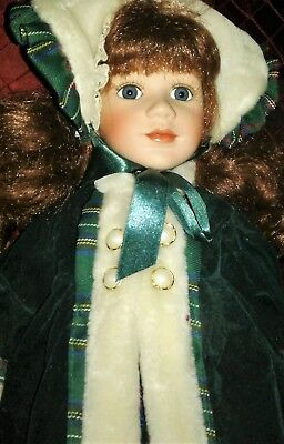 """Collectible Vintage Porcelain Doll 14"""" Green Velvet Coat Dress Red Curly Hair"""