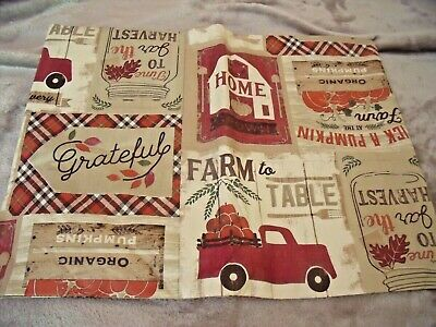 """NEW Fall Country TABLECLOTH 52"""" X 70"""" Farm To Table Pumpkins Rooster Red Truck"""