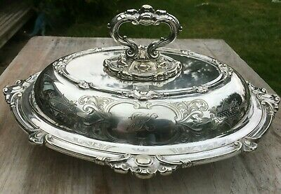 Antique Silver Plated Lidded Tureen Serving Dish