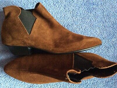 vintage 80s mid brown suede leather pull-on Chelsea Western low ankle boots 4 5