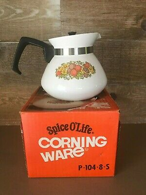 Vintage Corning Ware Spice Of Life Teapot with Box P-104 6 Cup