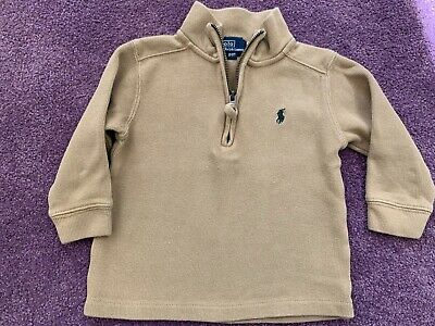 Toddler Boys Polo Ralph Lauren Tan Cotton Shirt Stand Up Zip Collar Size 2T