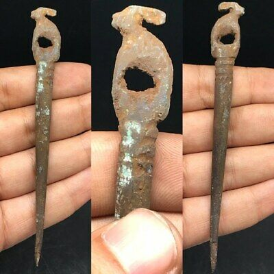 Wonderful Rare Old Unique Bronze Hair PIn With Animal On Top #SAi99