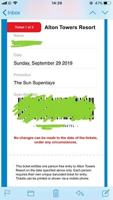 2 X ALTON TOWERS TICKETS FOR SUNDAY 29th SEPEMBER 2019
