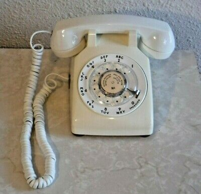 Western Electric Series 500 Retro White Rotary Dial Telephone Bell System WORKS!