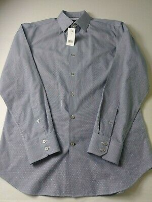 New Banana Republic Mens Slim Fit Non Iron Shirt Size M Blue Puppystooth Cotton