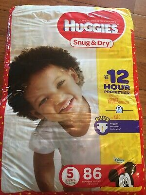 Huggies Snug & Dry, 86-Count, 27 Pounds, Size-5 Baby Diapers, New, Unopened