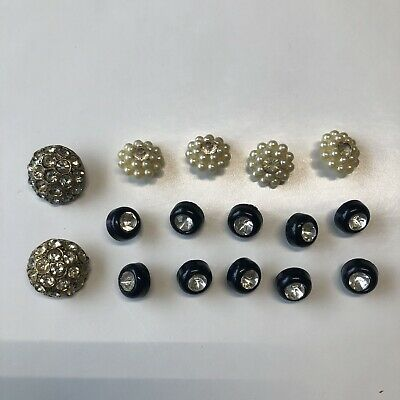 Vintage Mixed Lot Shiny Rhinestone & Plastic Buttons Sewing Crafts