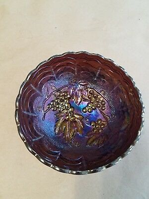 Electric Imperial Carnival Glass Imperial Grape Berry Bowl Amethyst #1