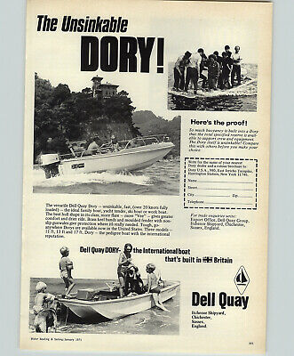 """DELL QUAY DORY fishing speed boat Hull Stickers x2 2@ 12/"""" X 6/"""""""