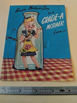 Vintage Greeting Card Mothers Day Cellophane Bottle Die-Cut Rust Craft