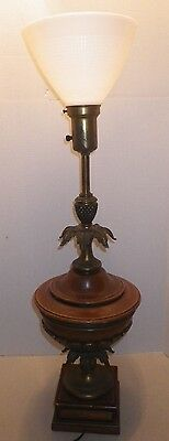 Vintage Stiffel Pecan Wood & Brass Pineapple Table Lamp Hollywood Regency