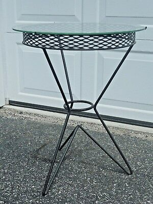 Vintage Mid Century Modern Hairpin Leg Glass Top End Table Black Wrought Iron