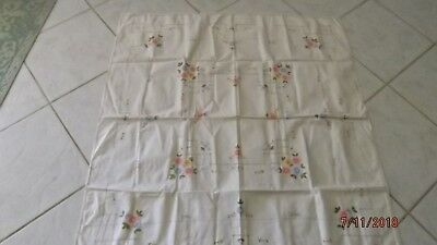 Floral Tablecloth Rectangle yellow pink green 46 X 48 inches / 6 Napkins