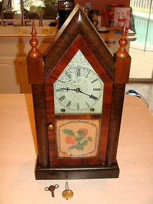 Antique New Haven Steeple Clock, Working with Key and Pendulum