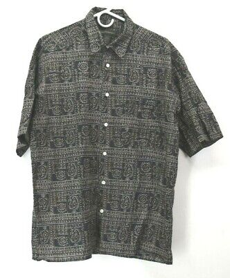 Banana Republic Mens Large Short Sleeve Button Up Aztec Print Casual Shirt