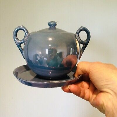 Vintage Luster Ware Large Art Deco Blue Sugar Bowl With Tray Made In Japan