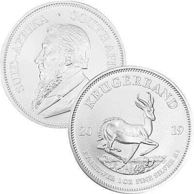 GEM UNCIRCULATED 2019 South Africa 1 oz Fine Silver Krugerrand 1 BU Rand Coin