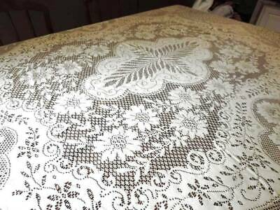 ELEGANT VINTAGE QUAKER LACE TABLECLOTH ~66 x 84~LARGE ROSE DESIGN~NR MINT