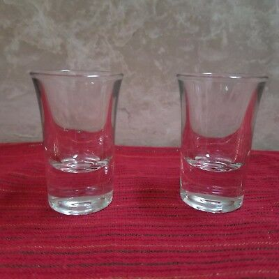 2 Vintage Shot Glasses Heavy Thick Bar Liquor Glass - Exc Cond - 2.75 inch high