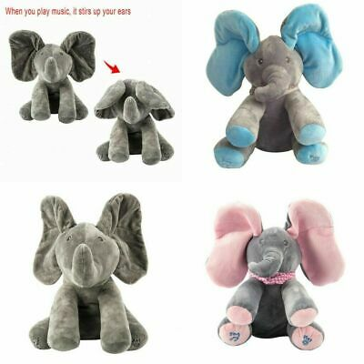 UK Peek-a-boo Singing Elephant Music Doll Plush Toy Kids Baby Birthday Gift 2019