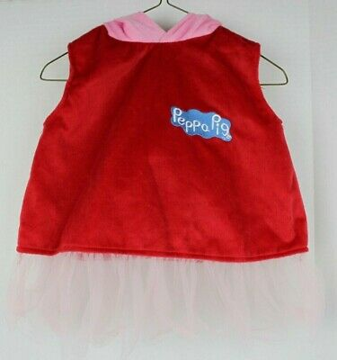 Toddler Girls PEPPA PIG Pink Red Tutu Dress Costume w Attached Hood Sz 2-3T VGUC