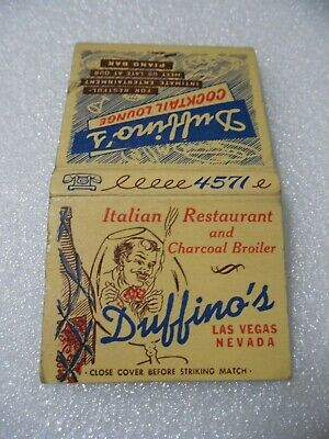 Las Vegas '54-'57 DUFFINO'S Restaurant Casino Lounge matchbook matchcover chips