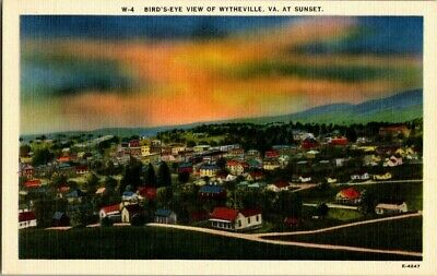 1940'S. Birds Eye View Of Wytheville, Va. Postcard Zt10
