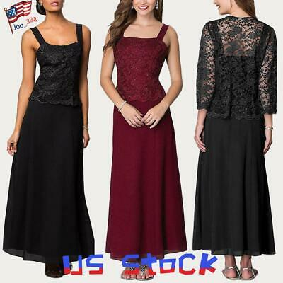 Women's Mother of Bride Dress Lace Cardigan Jacket Formal Two-Piece Set Gown US
