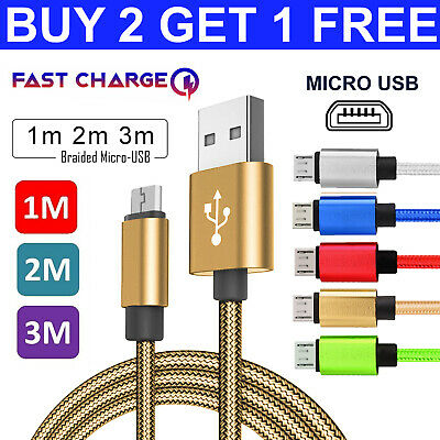 1M 2M 3M Heavy Duty Braided Fast Charger Micro USB Data Sync Lead Phone Cable
