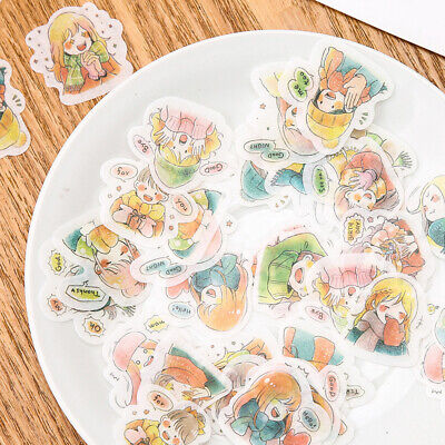 40pcs Creative Diary Paper Stickers Kawaii Stationery DIY Scrapbooking Stickers